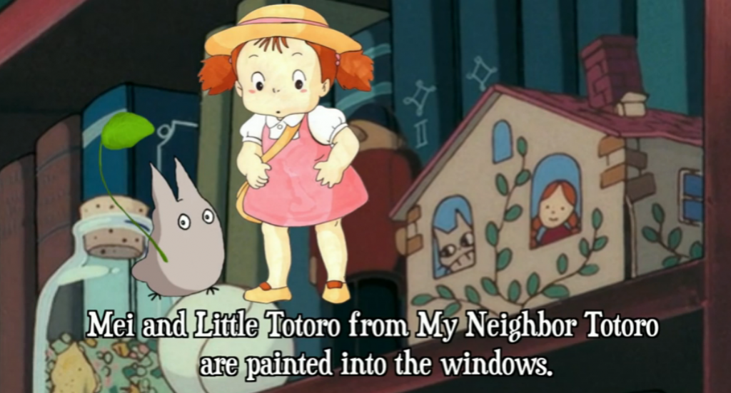 A reference to Mei and little Totoro from My Neighbor Totoro?