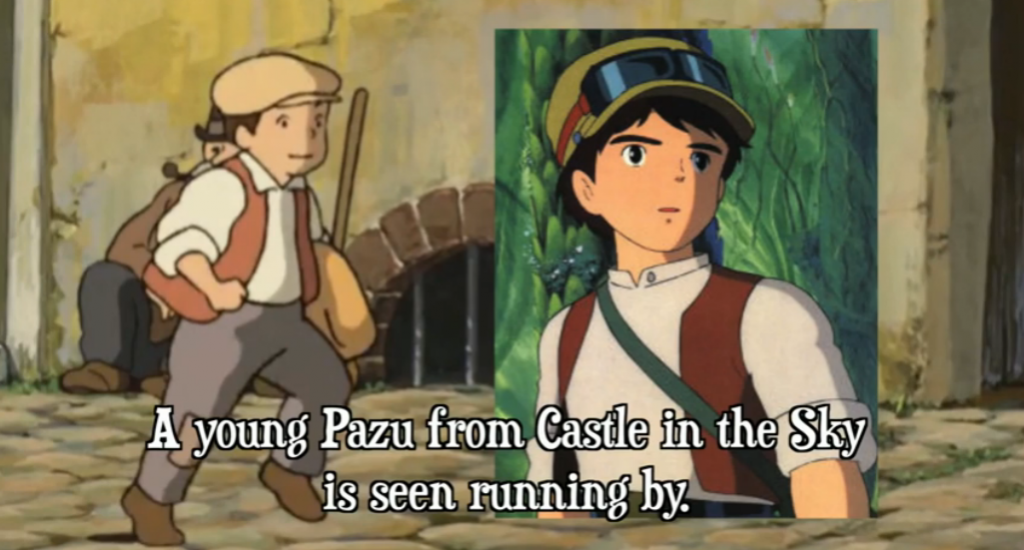 Maybe a cameo of Pazu from Castle in the Sky?