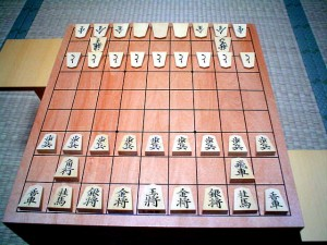 A traditional shogi setup