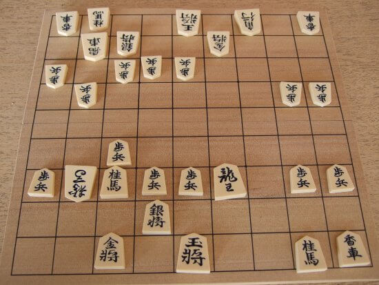 Shogi game in progress