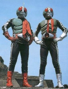 Kamen Rider 2 (red gloves and shoes) and Kamen Rider 1