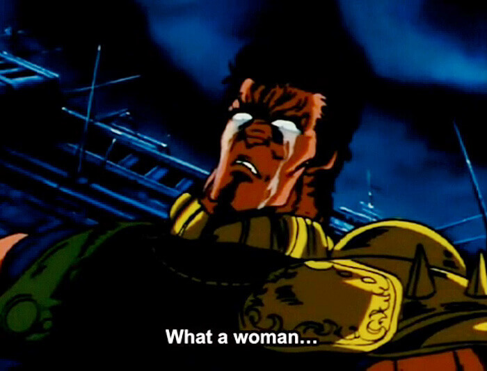 Raoh in his rare moment of grief and respect