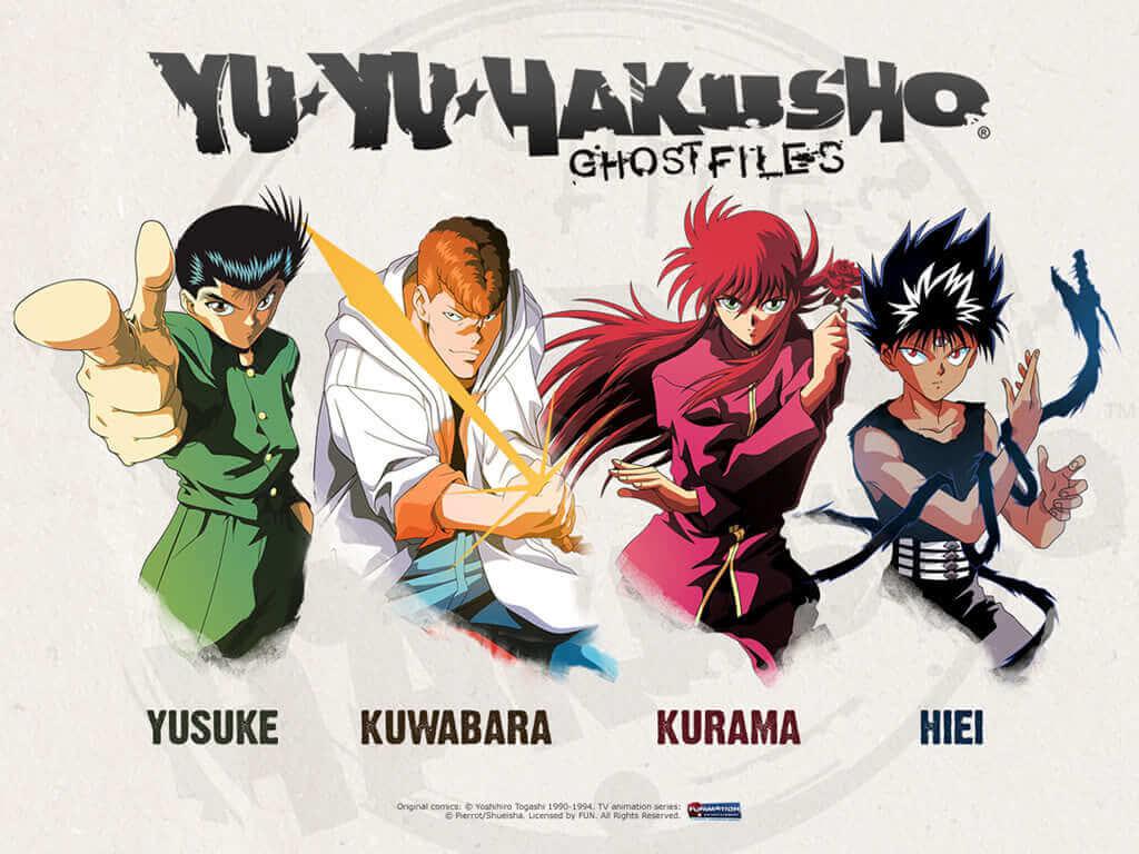 Team Urameshi: Yusuke, Kuwabara, Kurama, and Hiei