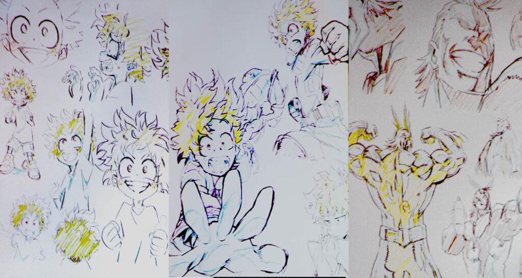 My Hero Academia Character sketches with corrections (shusei)