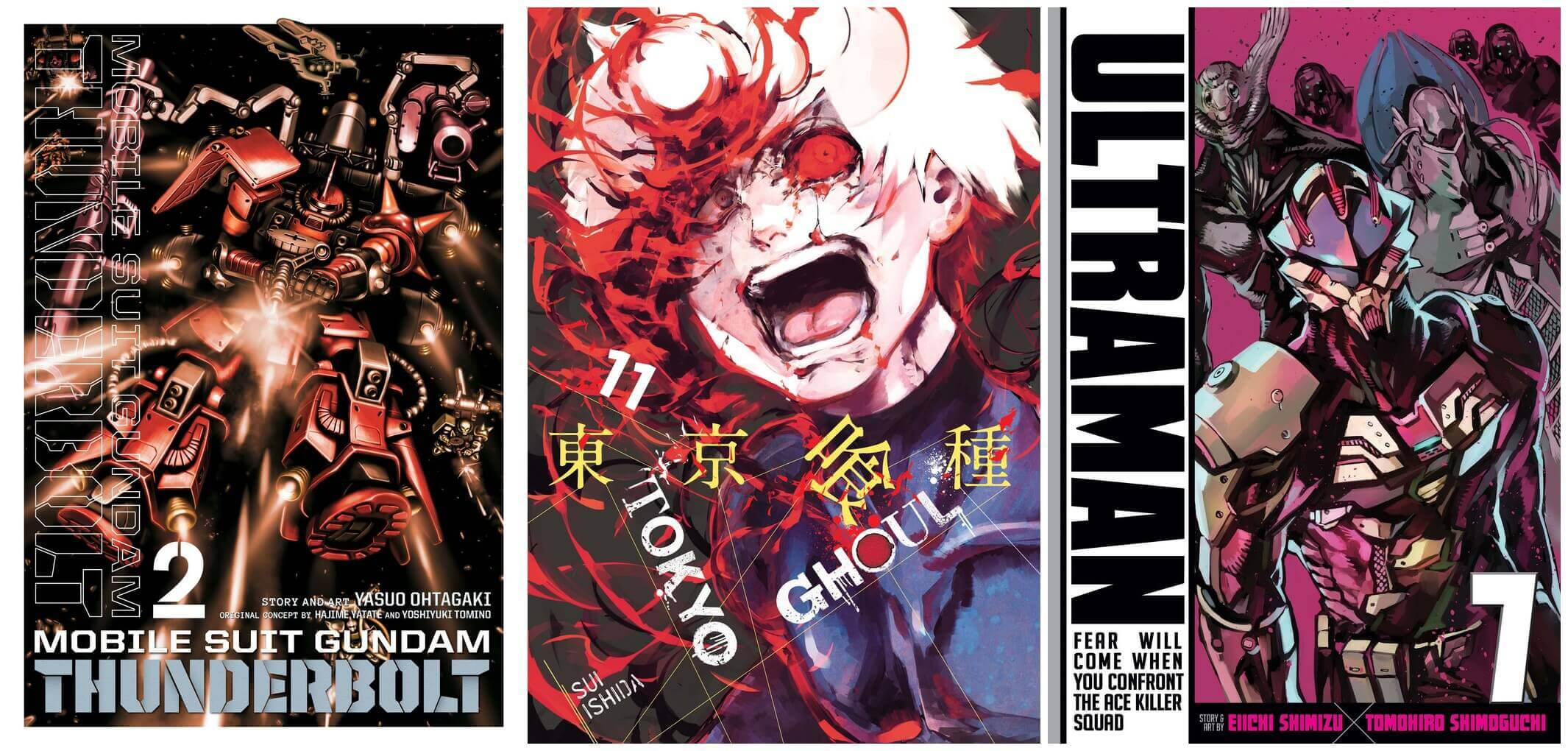 February 2017 Manga Releases Covers of Mobile Suit Gundam Thunderbolt, Tokyo Ghoul, and Ultraman.