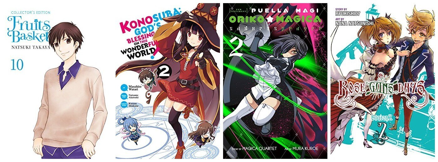February 2017 Manga Releases Covers of Fruits Basket, Konosuba, Oriko Magica, and Rose Guns Days Season 2.