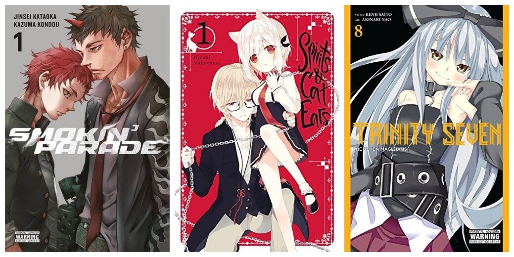 February 2017 Manga Releases Covers of Smokin' Parade, Spirits & Cat Ears, and Trinity Seven.