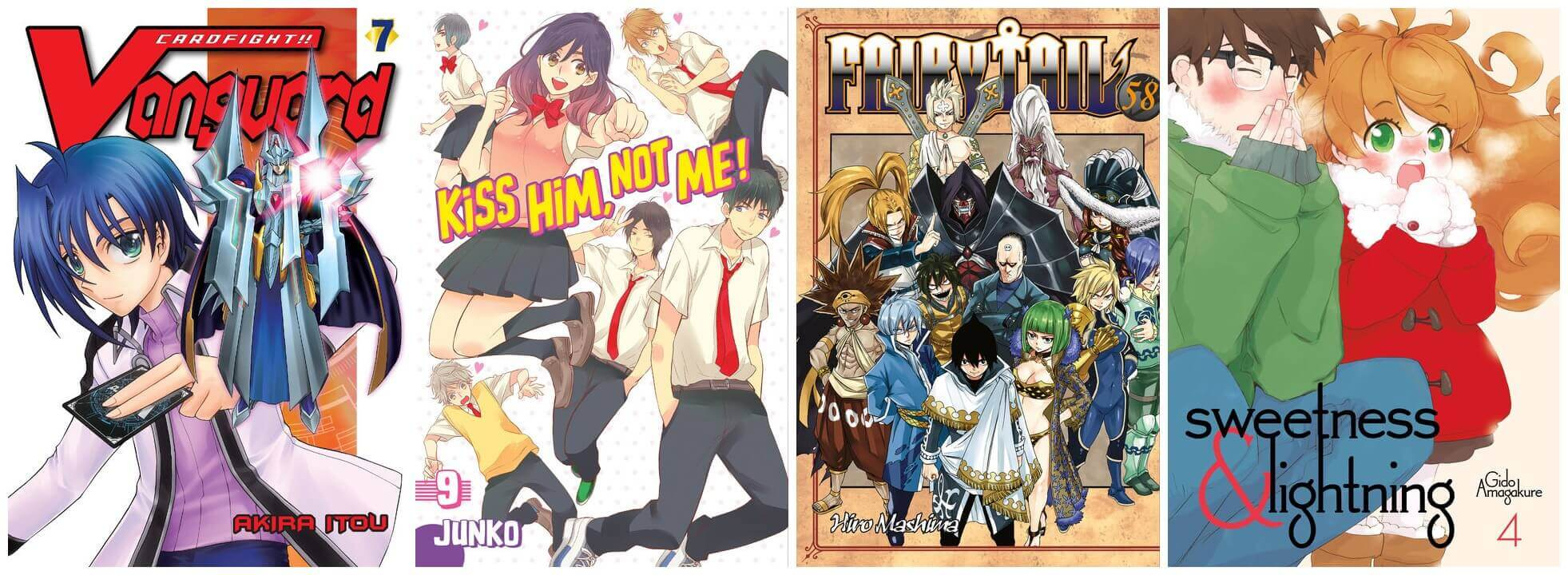 February 2017 Manga Releases Covers of Cardfight Vanguard, Kiss Him Not Me, Fairy Tail, and Sweetness & Lightning.