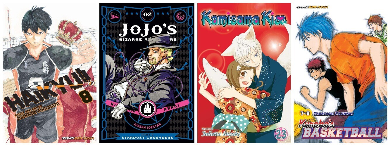 February 2017 Manga Releases Covers for Haikyu, JoJo's Bizarre Adventure, Kamisama Kiss, and Kuroko's Basketball