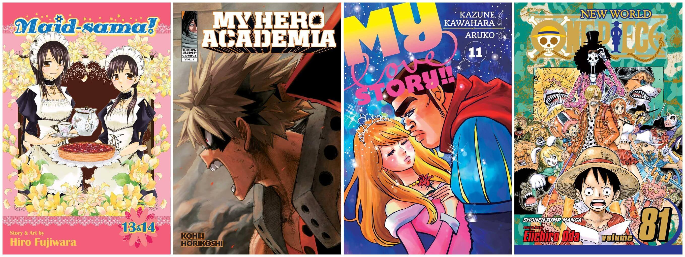 February 2017 Manga Releases Covers for Maid-sama, My Hero Academia, My Love Story, and One Piece.