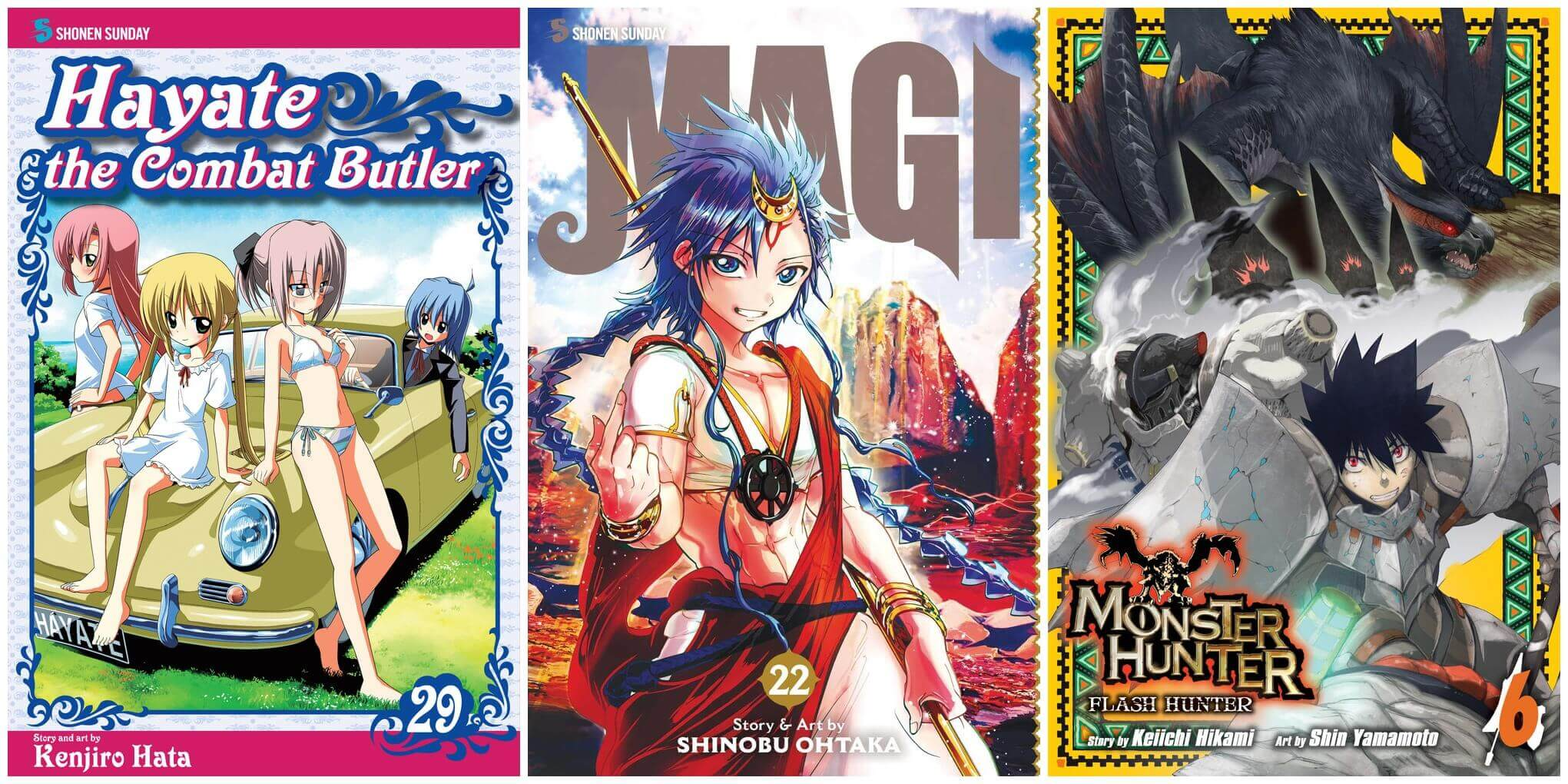 February 2017 Manga Releases Covers of Hayate the Combat Butler, Magi, and Monster Hunter: Flash Hunter.