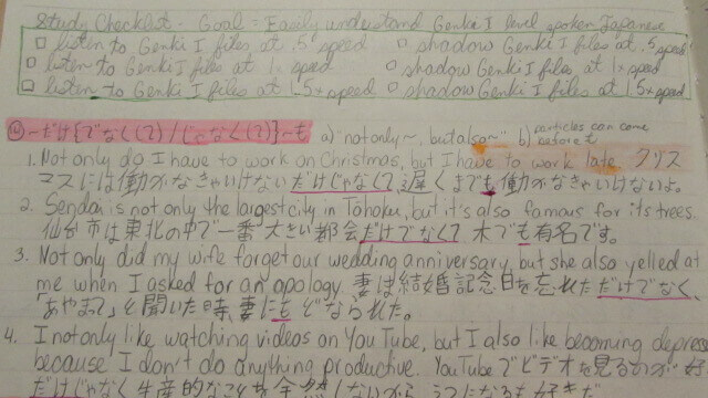 The Road to Learning Japanese: Language Journal A list of study goals surrounded by light green ink.