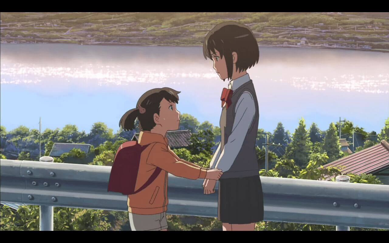 Your Name Review Mitsuha talking with her sister.