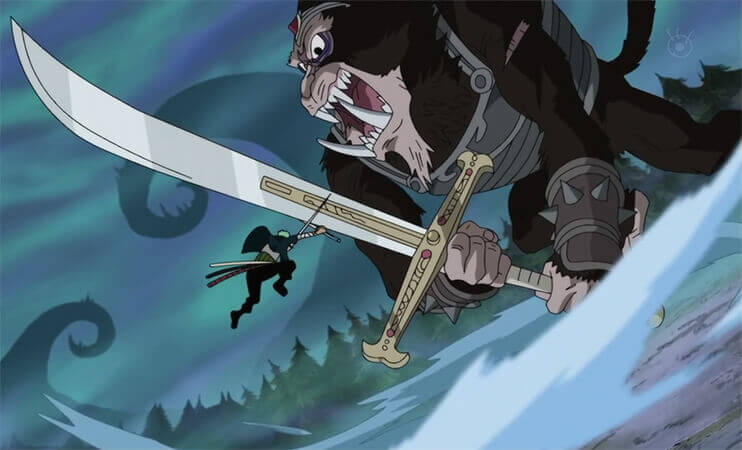 Zoro versus the humandrill leader