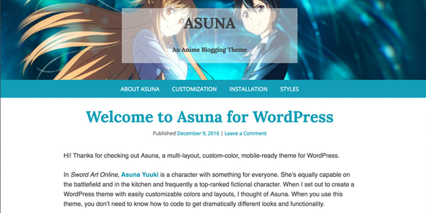 Asuna - WordPress Theme developed by Lauren Orsini