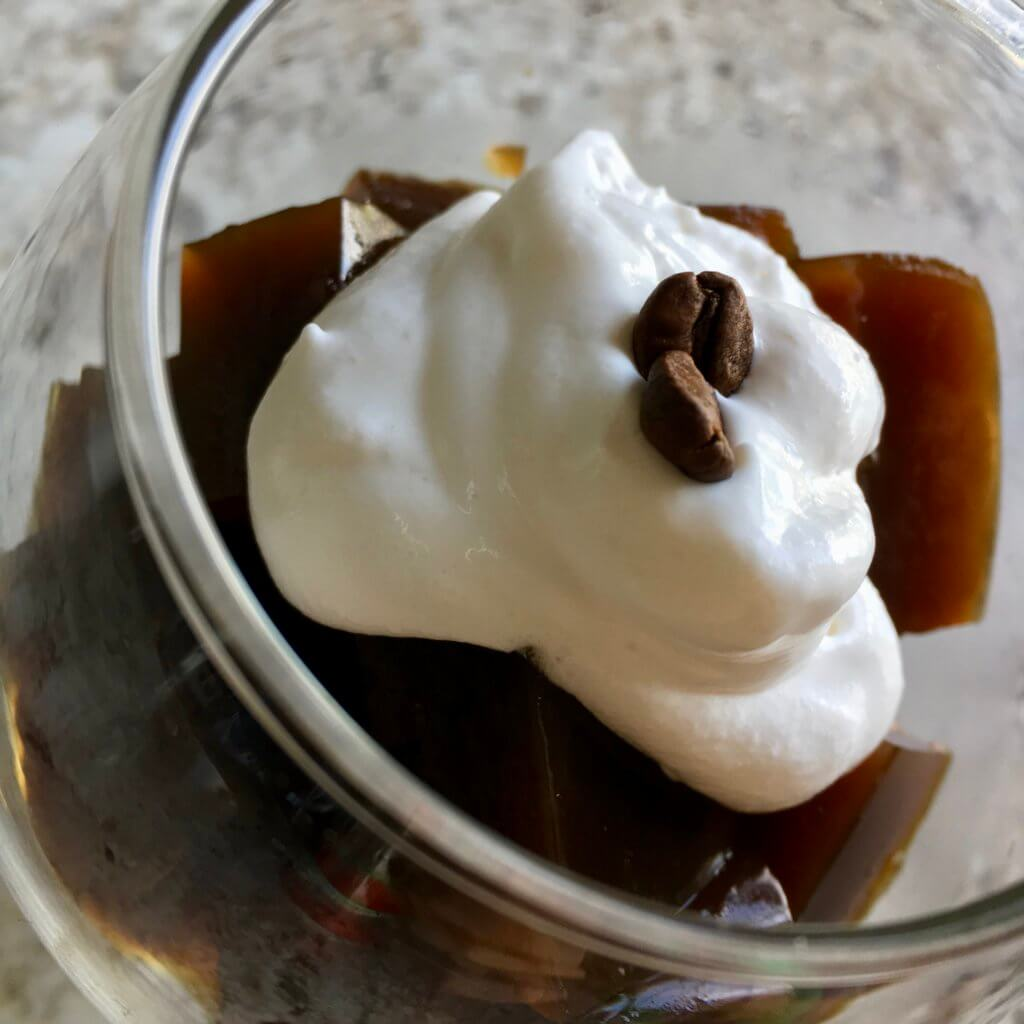 coffee jelly with coconut cream