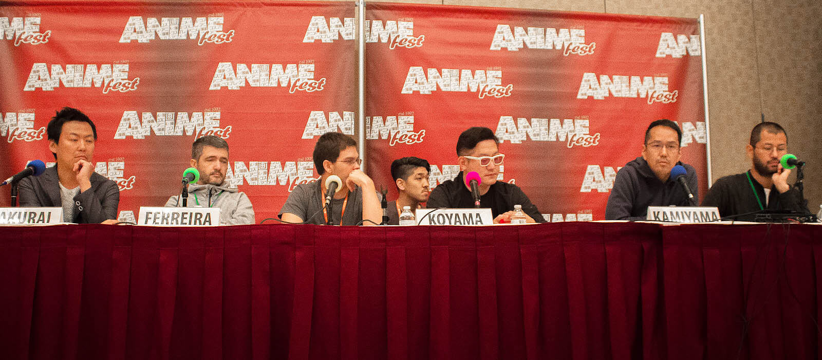 Napping Princess' Staff at AnimeFest 2017 (left to right: Sakurai, Ferreira, Koyama, & Kamiyama)