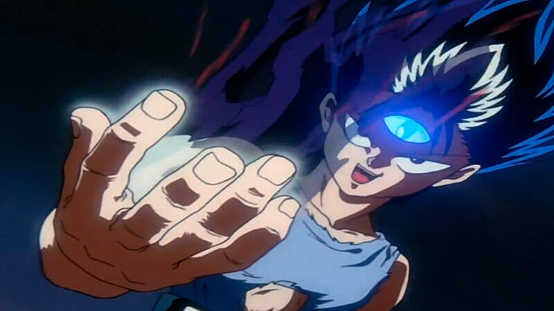Hiei opening his Jagan Eye