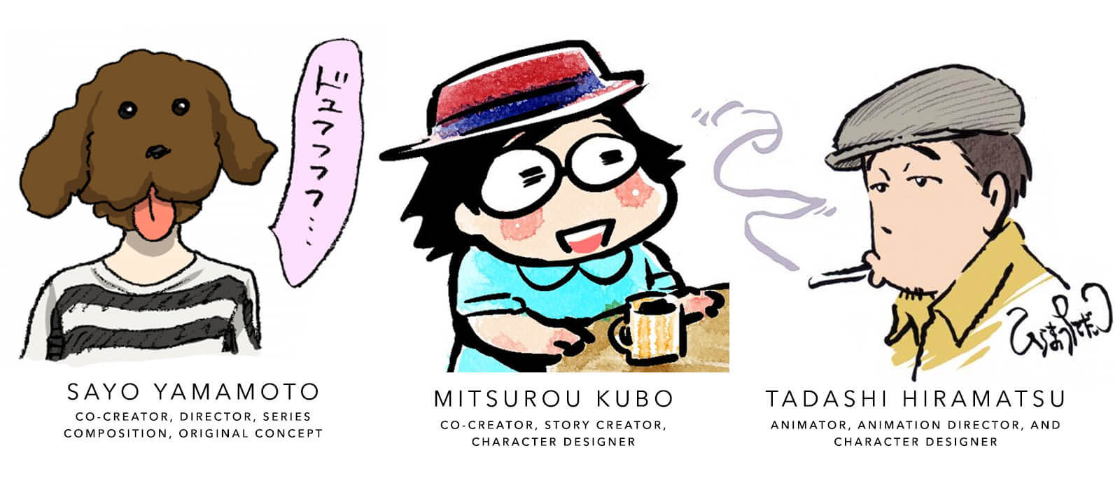 Yamamoto's, Kubo's, and Hiramatsu's avatars they use to associate with themselves