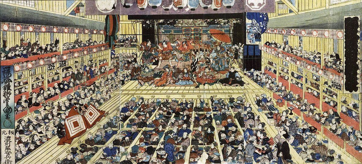 A beautiful painting of a Kabuki performance by Utagawa Toyokuni III