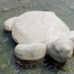 A turtle stone featured in the Eccentric Family