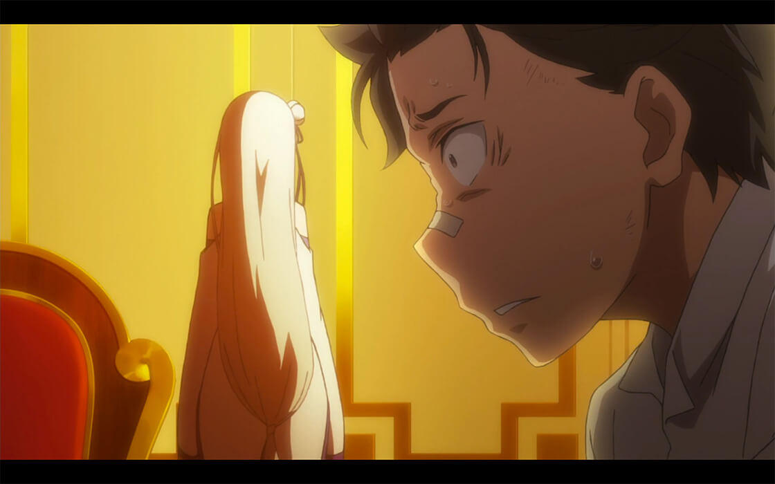Subaru sitting up in bed, and Emilia across the room with her back turned toward him after his outburst.