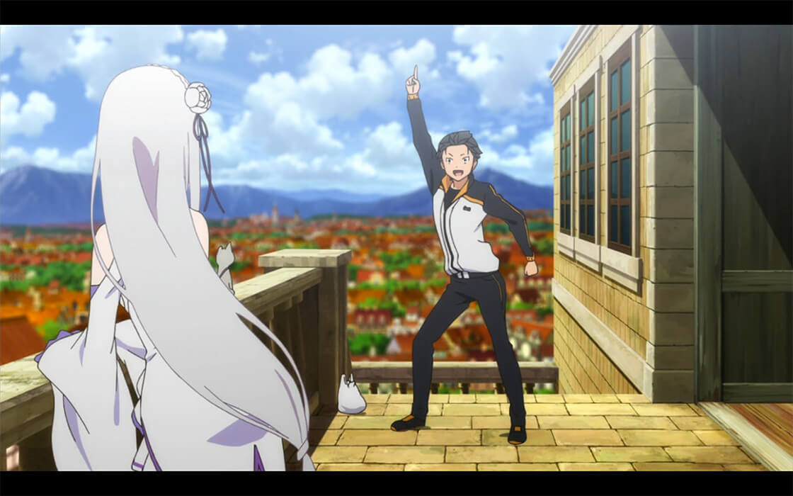 Subaru striking his signature pose as he introduces himself to Emilia.
