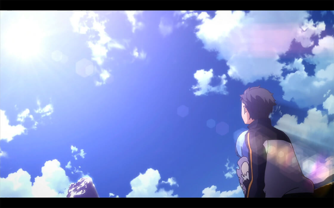 A renewed Subaru, holding a crying Rem in his arms as he stares up at the blue sky.
