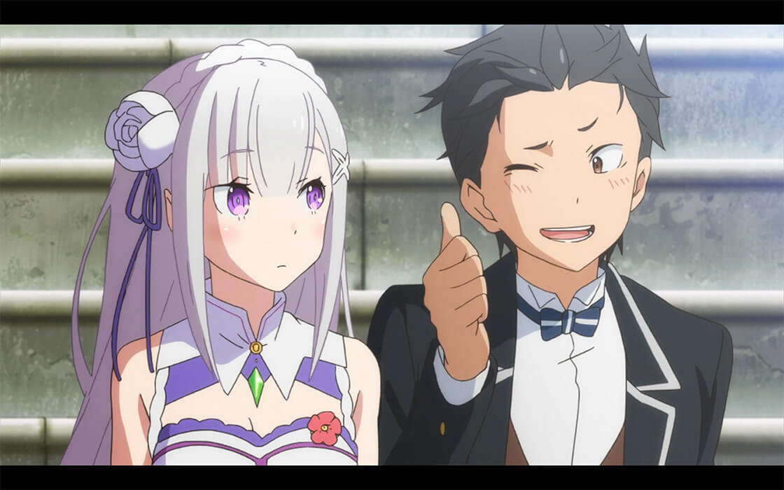 Subaru smiling as he shoots Emilia a thumbs up and a wink.