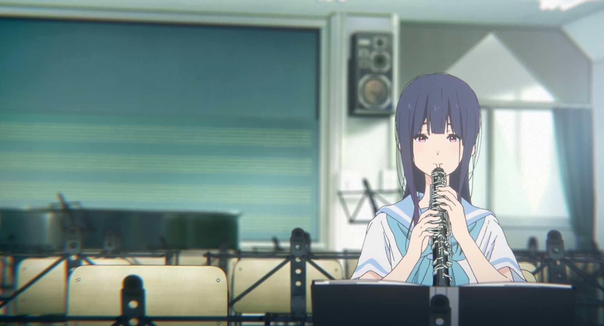 Mizore Yorizuka, performed by Atsumi Tanezaki, playing her signature oboe.