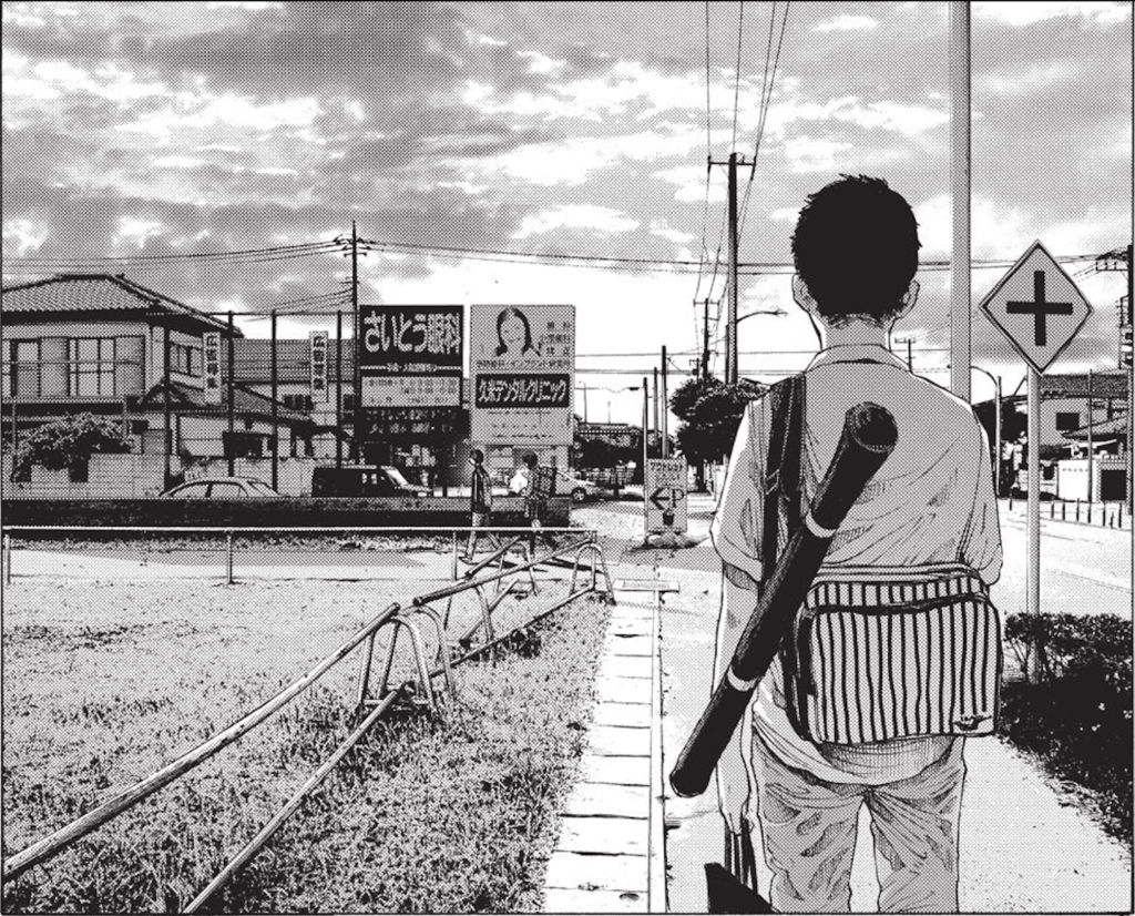 A side character from A Girl on the Shore watching the two main characters walk together on the street.