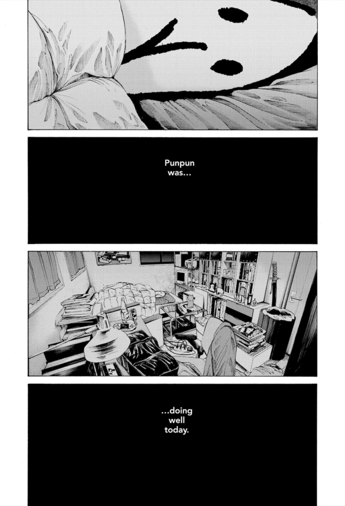 Punpun shutting himself in his room.
