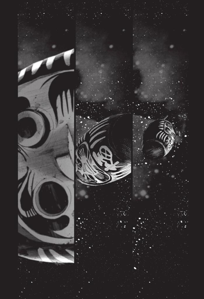A giant daruma floating through space.
