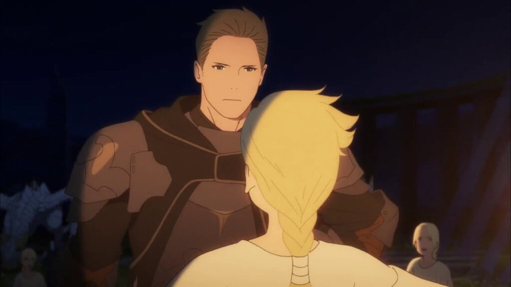 "A screenshot that showcases two supporting characters from ""Maquia."""