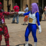 "Deadpool fistbumping Trunks from ""Dragon Ball Z"""