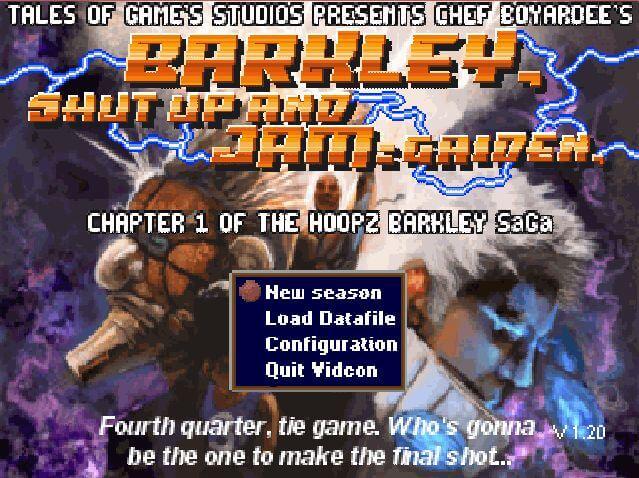 Barkley, Shut Up and Jam: Gaiden title screen.