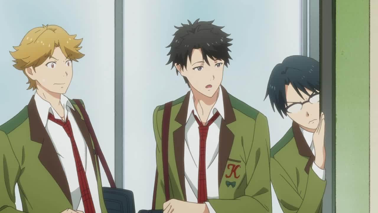 Screenshot of Mitsuyoshi, Kaoru and Pin-Senpai from the show