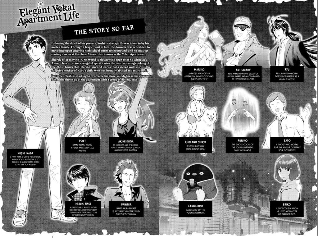 A screenshot of the character list and recap description from volume 2 of EYAL