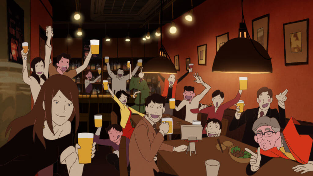Group of characters having a fun time in The Night Is Short, Walk On Girl