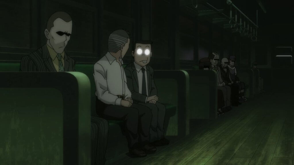 Screenshot of a man on the train from the Ghost Train episode