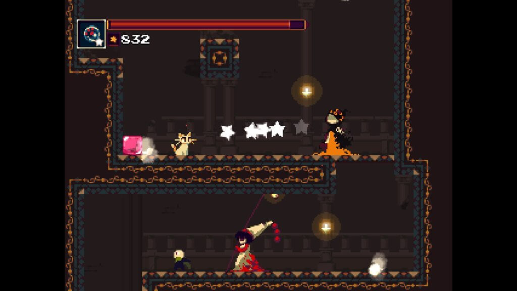 A screenshot of an area with enemies in Momodora: RUtM