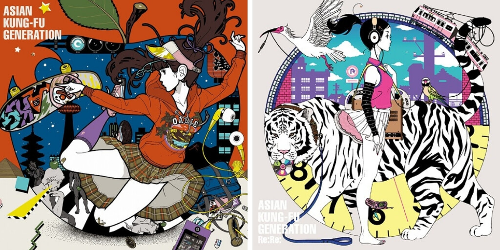 Cover art for two Asian Kung-fu Generation albums designed by Yusuke Nakamura