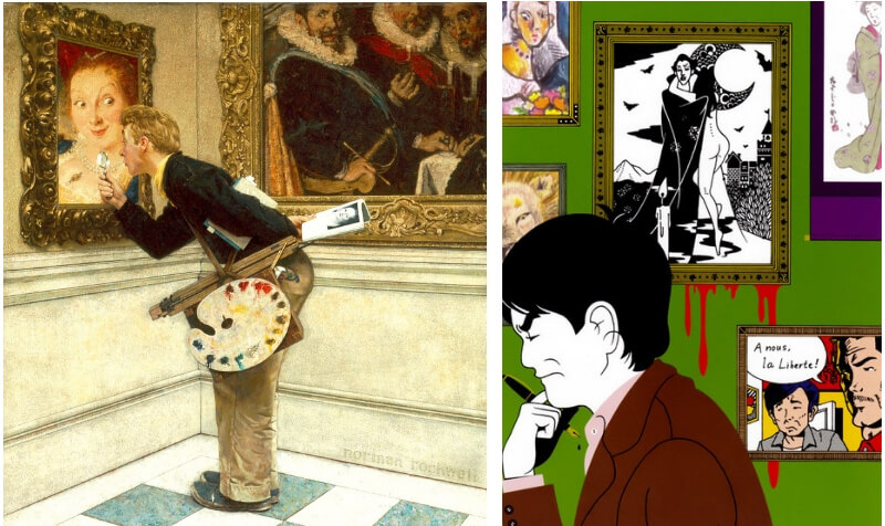 A comparison of two art pieces by Norman Rockwell and Yusuke Nakamura.