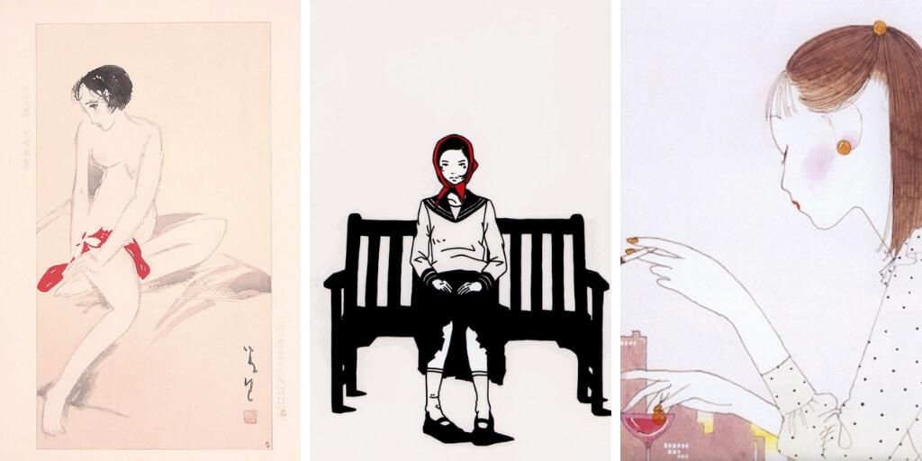 Three images of women drawn by Yumeji Takehisa, Yusuke Nakamura, and Seiichi Hayashi