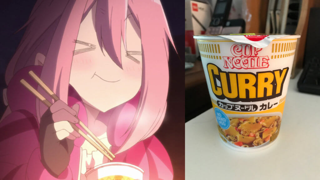 Nadeshiko enjoying curry ramen and an image of it in real life