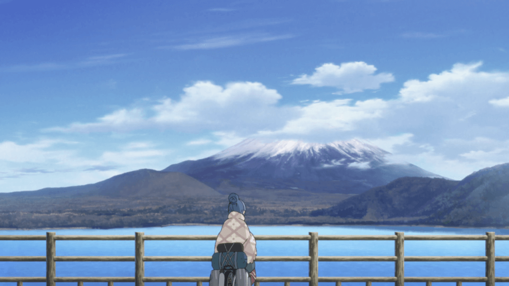 Rin arrives at her campsite with a view of Mt. Fuji
