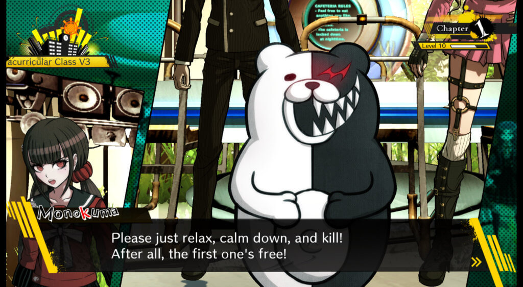 Monokuma kicking off the Killing Game in Danganronpa V3.