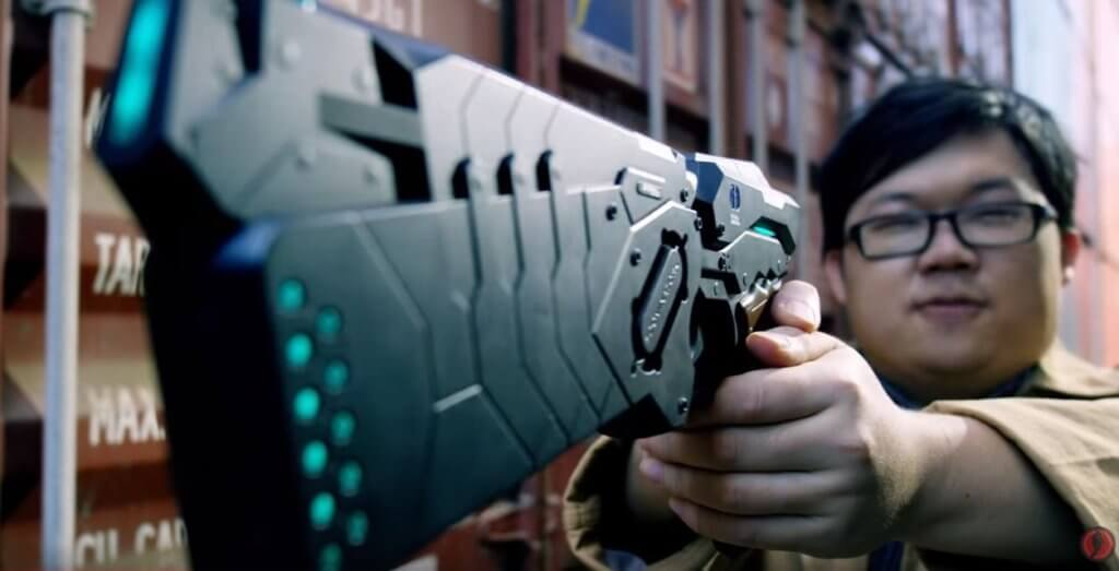 "The character of Joe holding the 45MW.TRG Dominator from ""Psycho Pass"""