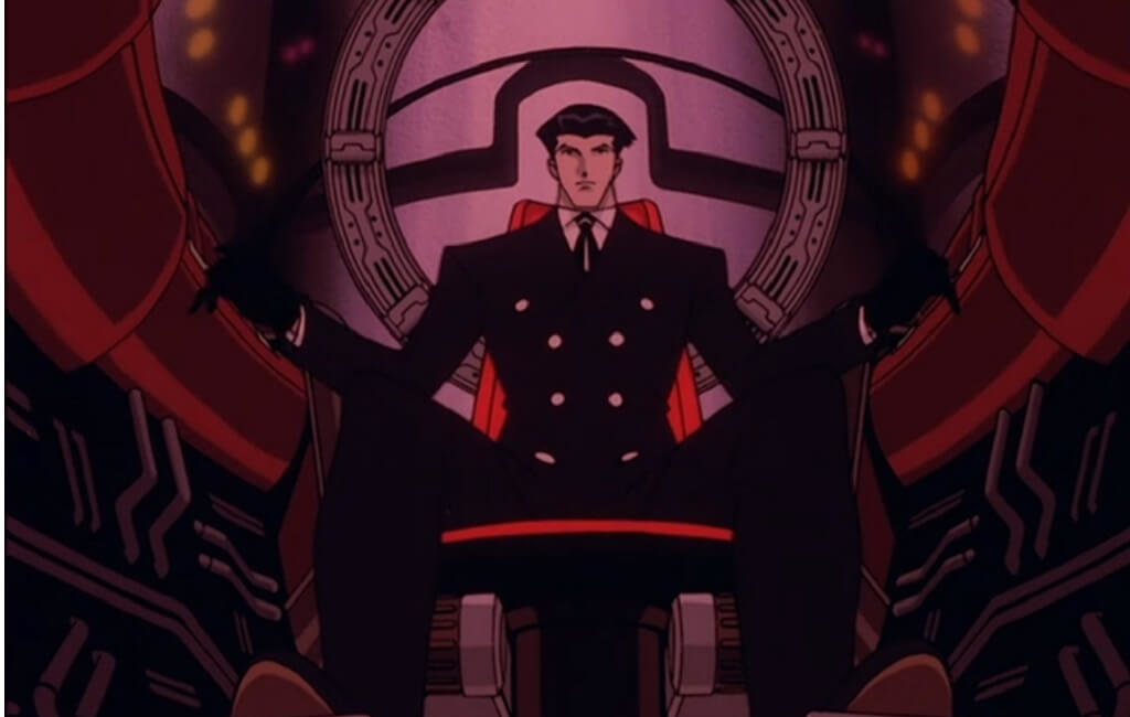 Roger Smith sits at the controls of his large robot