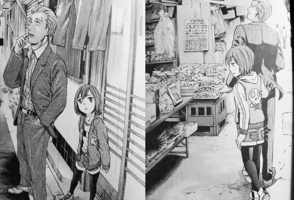 A screenshot comparing the size difference of Hina from two separate panels
